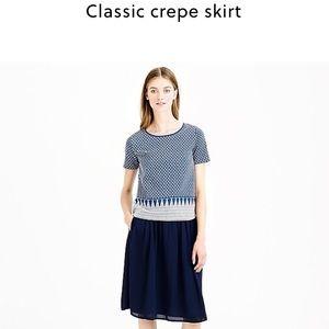 J. Crew classic crepe skirt in navy